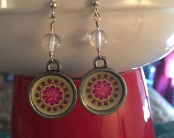 Pink & green flower earrings