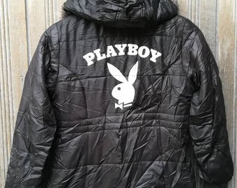 Playboy Big Logo Hoodie Jacket Snap Button