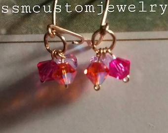 Baby earring/swarovski crystals/gold filled/handmade/baby jewelry/crystals