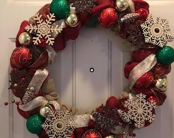 Burlap Holiday Wreath