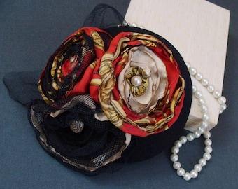 """Bibi"" hat / fascinator - red bouquet"
