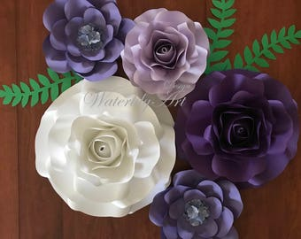 Purple /Pink paper flower set