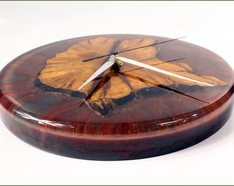 Original clock made of wood and resin