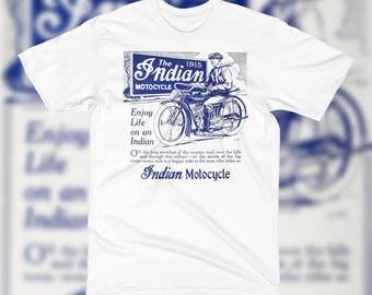 1915 Indian Motocycle T Shirt ANTIQUE Ad Art Scout Harley Davidson Biker Americana Classic