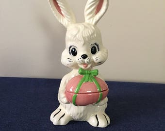 Ceramic Holland Mold Bunny with Egg