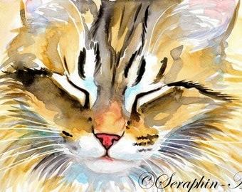 Sleeping Tabby Kitten Original Watercolor Painting