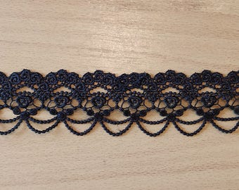 Black Lace Choker With Rose Gold Glass Drop