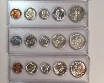 1941 1945 COMPLETE WWII ch/gem bu 25 coin set silver 50c/25c/10c 5c/1c 2h