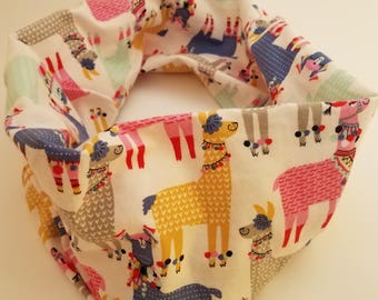 Children's/Small adult flannel infinity scarf with llamas and alpacas