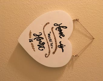 HANDMADE HOME is where the HEART is Wooden Sign