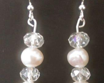 Fresh Water Pearl and crystal drop earrings