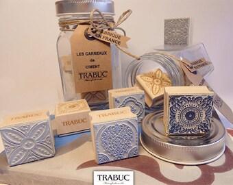 Jar - stamps patterns cement tiles