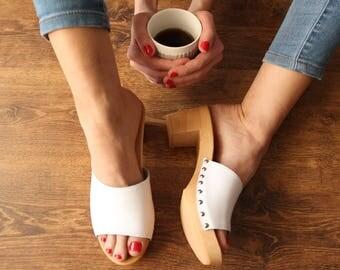 Clog Sandal Shoes Clog sandals swedish clogs trends fashion wooden clogs white Sweden clog clog sandal women sandals boots moccasin boho