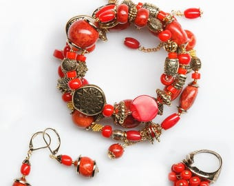 Set Adornment (Ensemble de Parure): bangle (bracalet), ring, earrings - natural coral, jewelry alloy with gold plated 5 microns