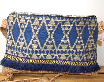 """Very cute Small Crossbody bag in faux Tan Leather, blue """"ethnic"""" fabric on the front. Made in Bidart."""
