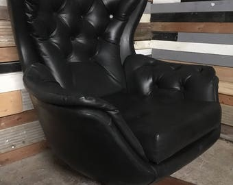 Retro Vintage Mid Century swivel armchair G plan Danish Scaninavian style faux leather, lovely condition delivery available