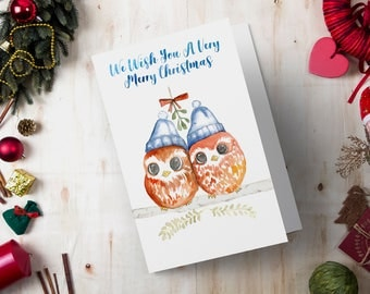Christmas Card, Holiday Greeting Card, Printable Watercolor Owls Painting - Digital Print, Instant Download, Cute Xmas, Couples Card