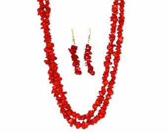 Layered Stone Necklace And Earring Set