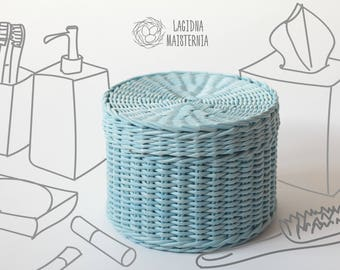 Minimalist basket with lid Hamper box for stuff Blue lidded basket for storage Wicker bin with lid Hand woven basket Rustic storage basket
