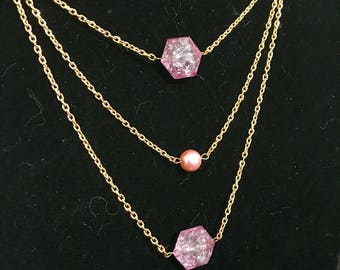 Multi chain necklace // pink crystal necklace // pink and gold necklace