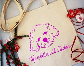 Bichon Tote bag  - Dog bag - Pet bag - Puppy - Bichon Frise - Pink Dog Tote bag - Canvas Tote - Personalised Bag - Personalised pet bag