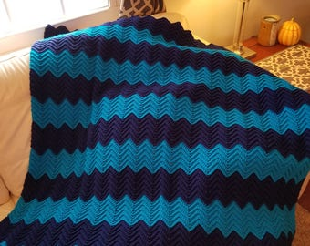 Chevron Ripple Afghan/Crochet Afghan/Blankets and Throws/Crochet Lap Robe/Housewarming Gift/READY TO SHIP
