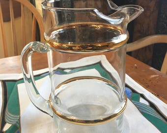 Gold Banded Pitcher with Applied Handle 8 cupor 64 ozs