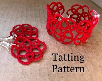 "PDF Tatting Pattern - ""Holst"" Motif Earrings and Bracelet"