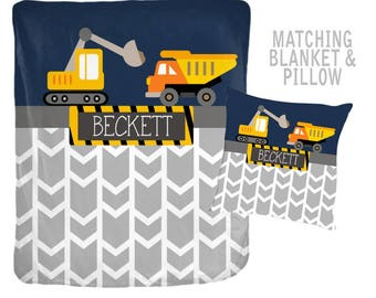 CONSTRUCTION Blanket Pillow Set, Construction Trucks Decor, Trucks Bedding, Personalized Boy Name Blanket Pillow Set-Baby Boy Shower Gift