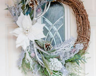 Winter Wreath, Christmas Wreath, White Wreath, Rustic Wreath, Poinsettia Wreath, Grapevine Wreath, Holiday Wreath, Silver Wreath