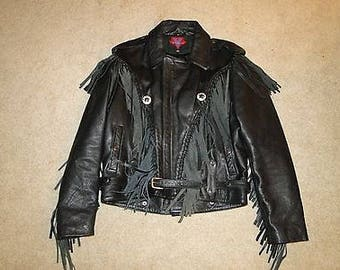 Vintage Black Leather MotorcycleJacket Sz44 MENS