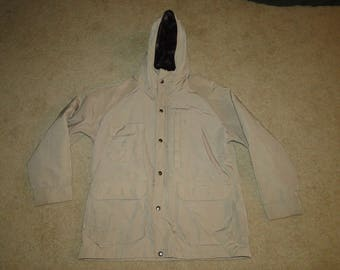 VINTAGE WOOLRICH wool & nylon JACKET Hooded Parka Sz .L womens