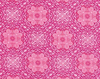 Bella Morocco Hot Pink Floral Medallions, Kanvas for Benartex (By Yard)
