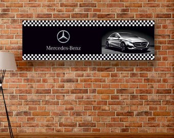 Mercedes wall sign etsy for Mercedes benz wall posters