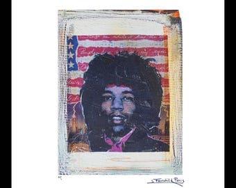 Jimi Hendrix Vintage Print by Fairchild Paris