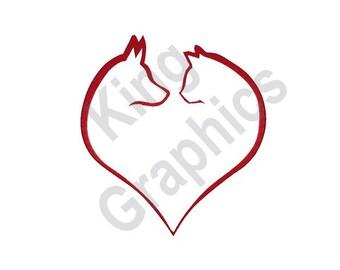 Dog & Cat Heart - Machine Embroidery Design, Pets, Animals