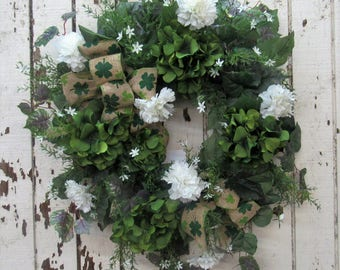 May the Luck of the Irish be with your home with this St Patrick's  Day wreath - Green Glitter Hydrangea, White Carnation, White Starflower