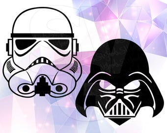 Star Wars Stormtrooper Darth Vader SVG DXF File for Cricut Design Space Cameo Silhouette Studio Vinyl Cut File Screen Printing Skywalker