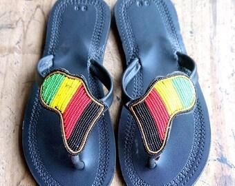ON SALE LEATHER Sandals, Women Leather Sandals, Masai Sandals, Colorful Sandals, Boho Sandals, Summer Sandals, African Sandals, Women Shoes,