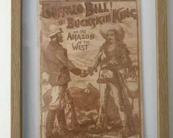 Buffalo Bill!  An engraving of a buffalo bill comic on birch plywood.