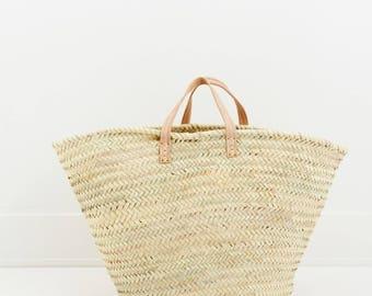 Parisienne French Market Basket, French Basket, Moroccan Basket, Straw Bag, Shopper Bag, Panier marocain, Panier de Provence