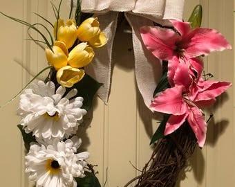 Spring Tulip and Chrysanthemum Wreath