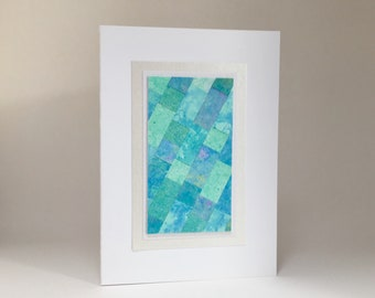 Equinox card, quilt design individually made from hand-painted paper, A6, SKU ESA61001