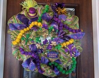 Mardi Gras Fat Tuesday Mesh Wreath