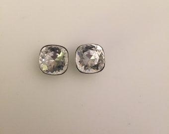 Clear square Swarovski earrings
