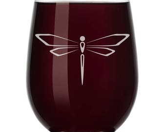 Dragonfly Wine Glass Stemless or Stemmed