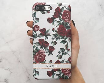 Personalize Customized First And Last Name Initial Text Custom Vintage Wild Red Rose Protective Hard Case Cover For iPhone 7 iPhone 8 | C113