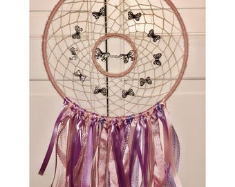 Pink and Purple Butterfly Dreamcatcher