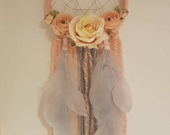 Floral and feather dream catcher