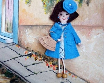 Fabric brooch doll, felt pin doll, pioneer school gift, convention gift, miniature doll, felt doll, gift for her, mother gift, teacher gift